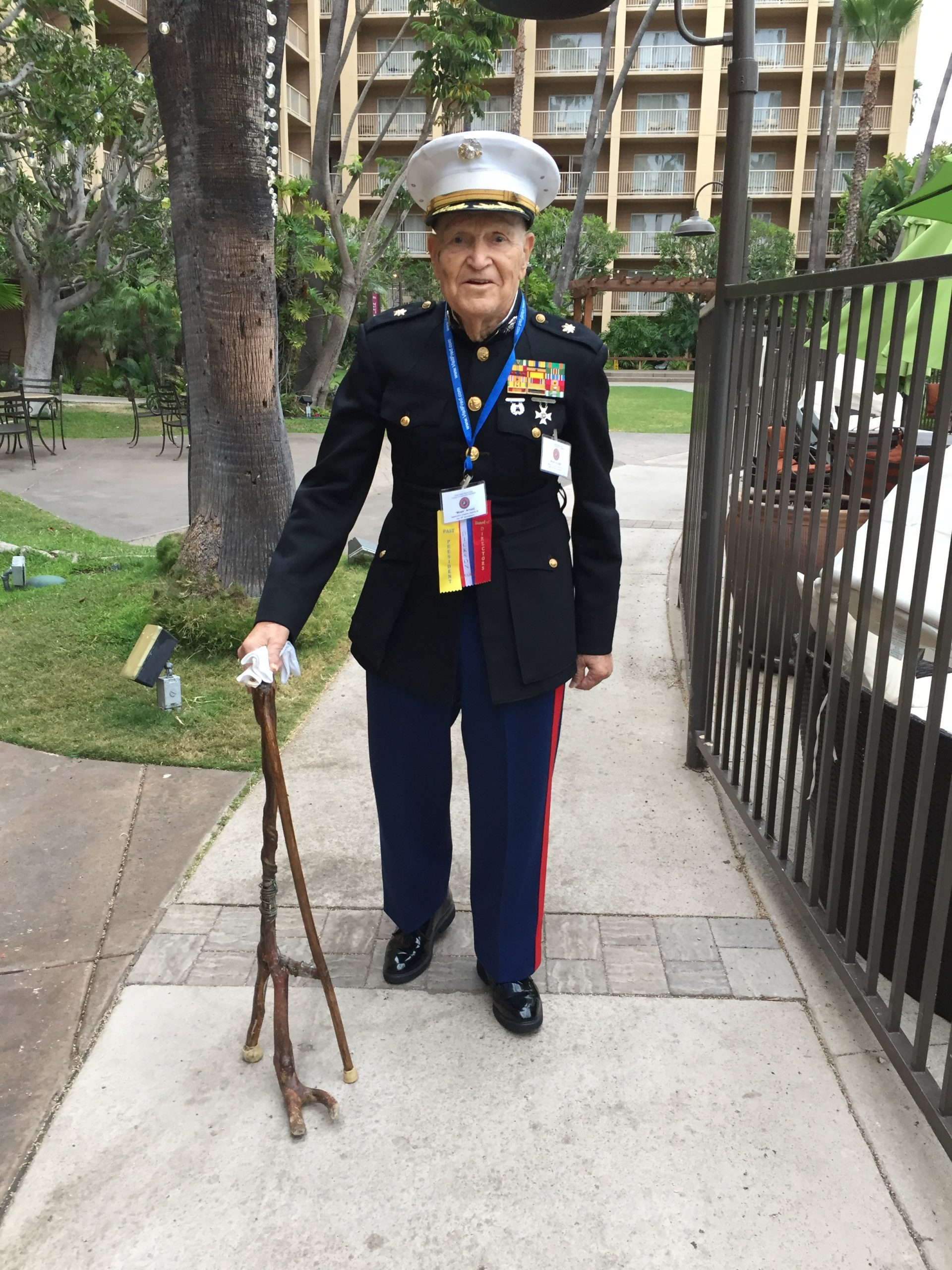 "Beloved Snuffy commander Major Mordecai ""Mawk"" Arnold, veteran of WWII and Korea, wearing his boot camp dress blues in 2017 at age 93. He passed away the following year."