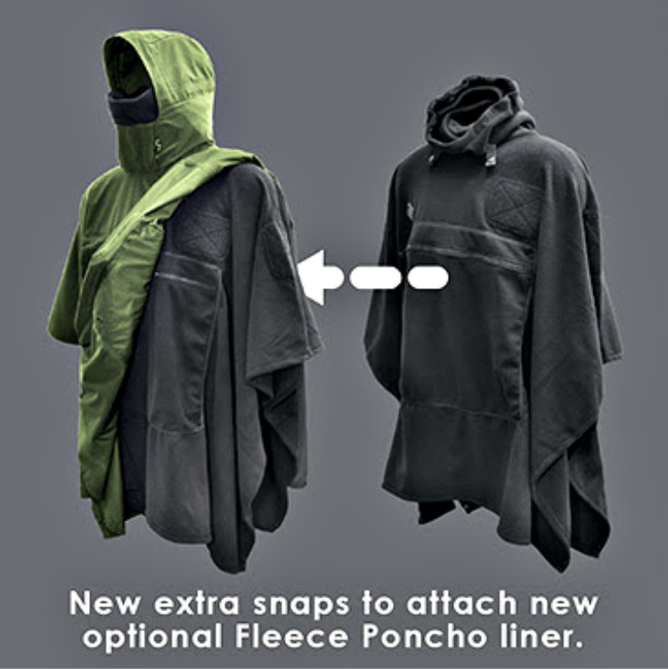 Tactical Poncho - Poncho Villa Mk. 2 - Attachment loops and snaps added to allow for coupling of Fleece Poncho Liner (so they don't separate in windy conditions.)