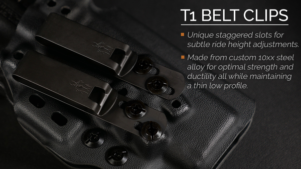T1 Belt Clips on Tenicor's M&P Shield holster