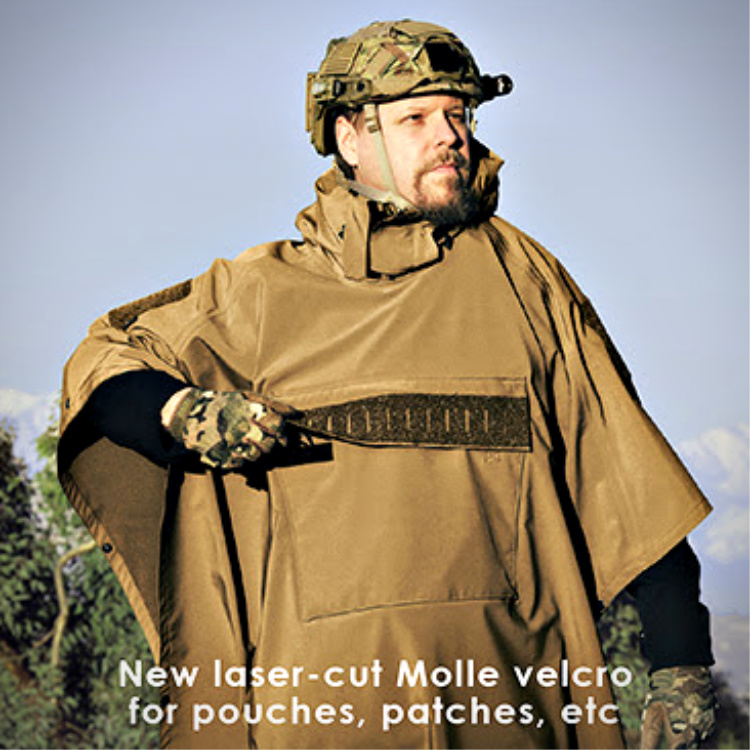 tactical poncho - The MK. 2 has lasercut MOLLE added on the loop fastener on the pocket flap.
