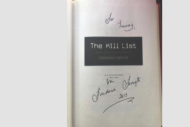 Signed by author Frederick Forsyth - The Kill List book
