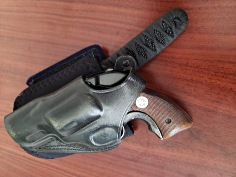 The Colt Agent has found itself in an ankle holster in my bag with a blade by knifemaker Joe Watson.