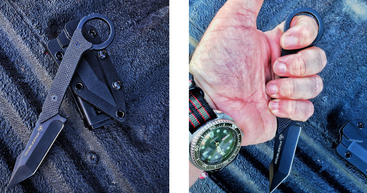 Ahab X fixed blade knife with sheath and in hand.