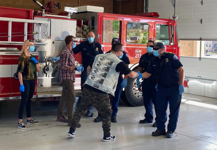 St. George, Utah Fire Department accepts PPE Kits from Brandan Steineckert and the Give Kits Foundation.