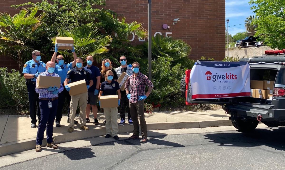 Branden Steineckert and the Give Kits Foundation teamed up to get PPE kits to the St. George, Utah PD, and FD.