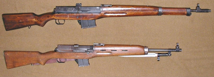 A carbine version of the Hakim was produced as the Rasheed (lower) – it closely resembles the Soviet SKS and fires the same 7.62x39mm round.