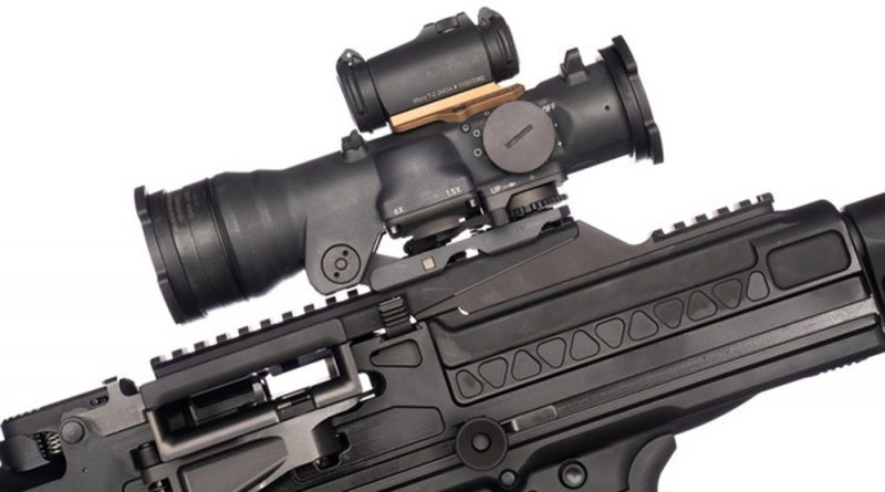 the reptilia saddle mount for micro red dot sights like Aimpoint Micro T-1/T-2 and CompM5 optics to the Elcan SpecterDR.
