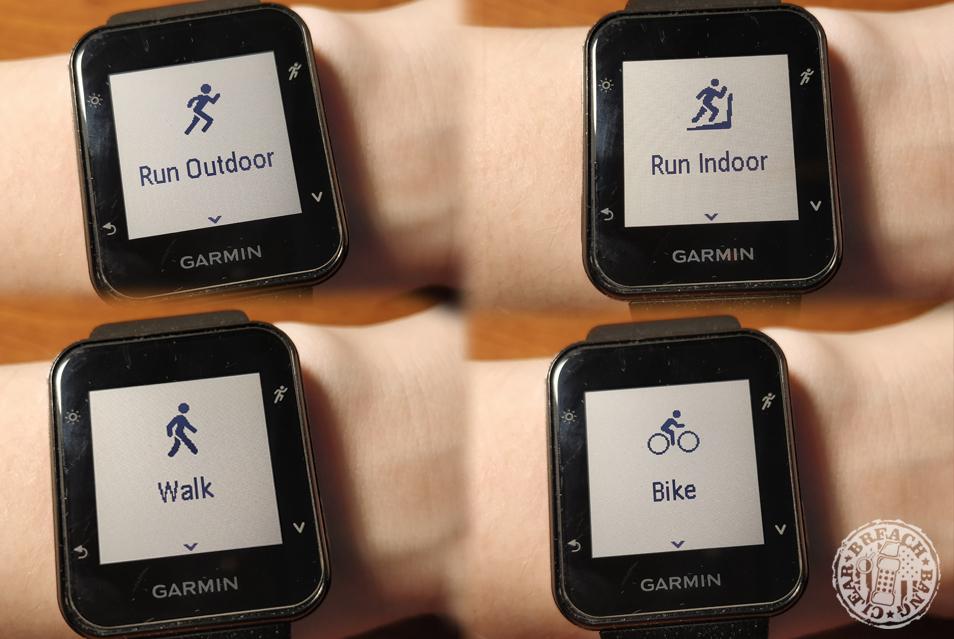Garmin Forerunner 35 activity modes.