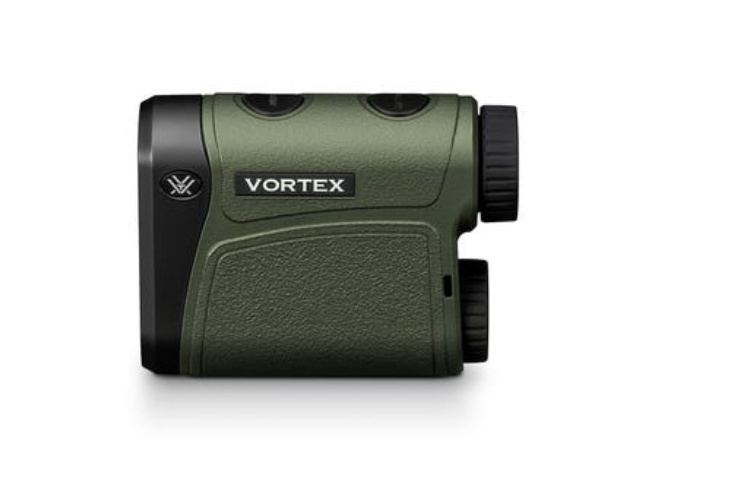 The Vortex Impact 1000 rangefinder comes with a lens cloth, strap, soft carry case, CR2 battery, and ballistic cheater card.