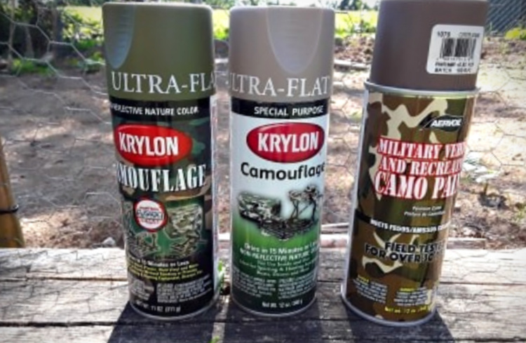 The three main paints that I used. The base coat was in Aervoe Coyote Brown, which is an all-around versatile color.