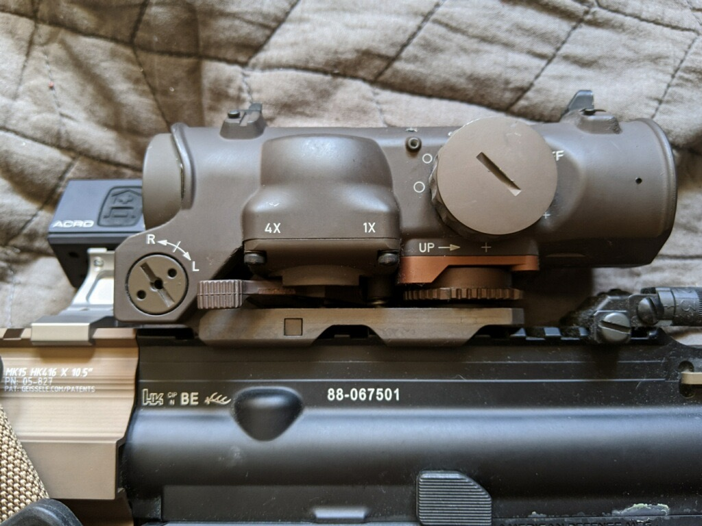 This HK416's Elcan SpecterDR can be left on 4x and used purely for its magnification purposes thanks to redundant 1x capabilty.