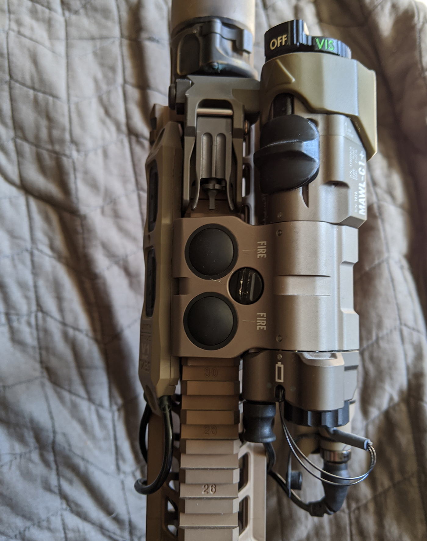 MAWL laser on DARC informed HK416...also equipped with Aimpoint Acro P-1, Elcan SpectreDR, Surefire Scout, and other accessories configured for CQB.