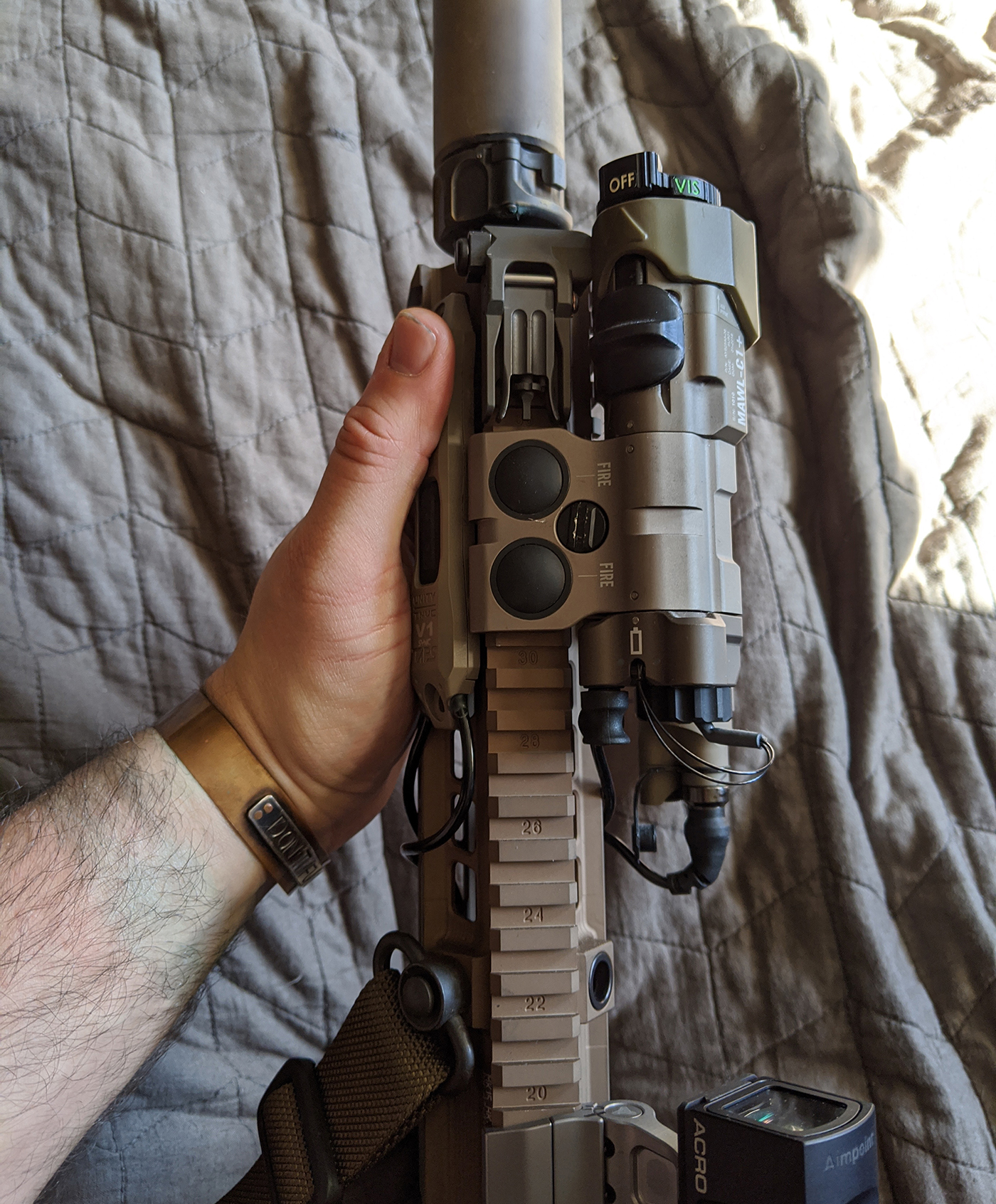 Unity Tactical TAPS on DARC informed HK416 with MAWL, Aimpoint Acro, Elcan SpectreDR, Surefire Scout, and other accessories configured for CQB.