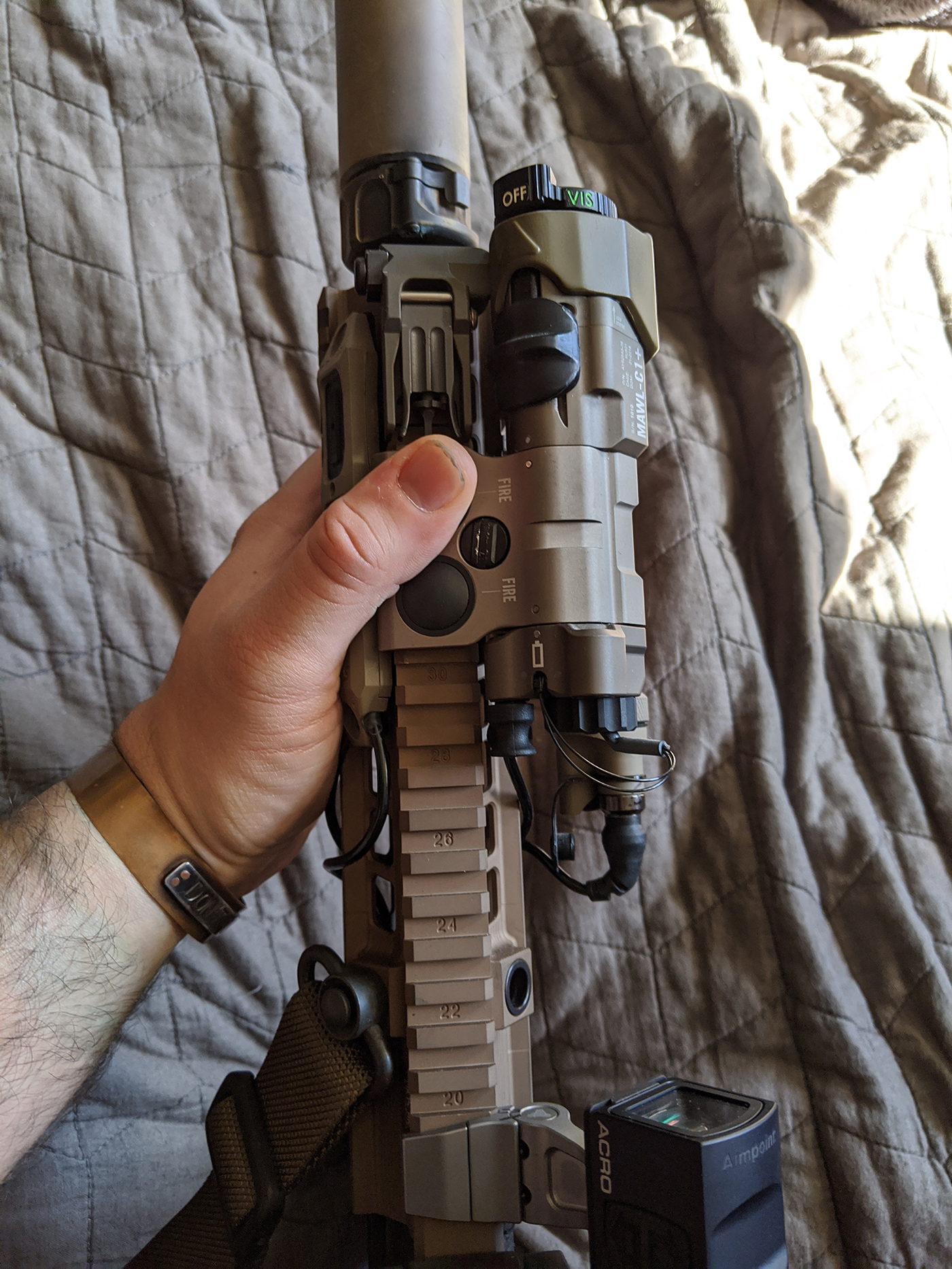 Thumb placement while working under nightvision, illustrated on HK416 CQB Carbine.