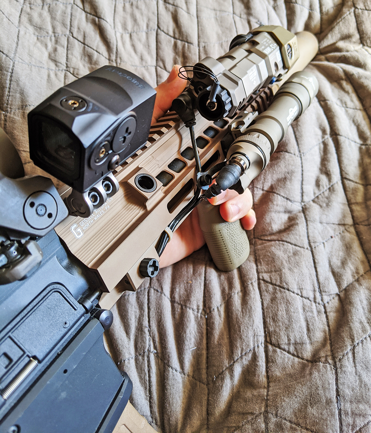 DSOO remote switch assembly mounted to DARC-informed HK416 rails with optics, Surefire light, and MAWL.