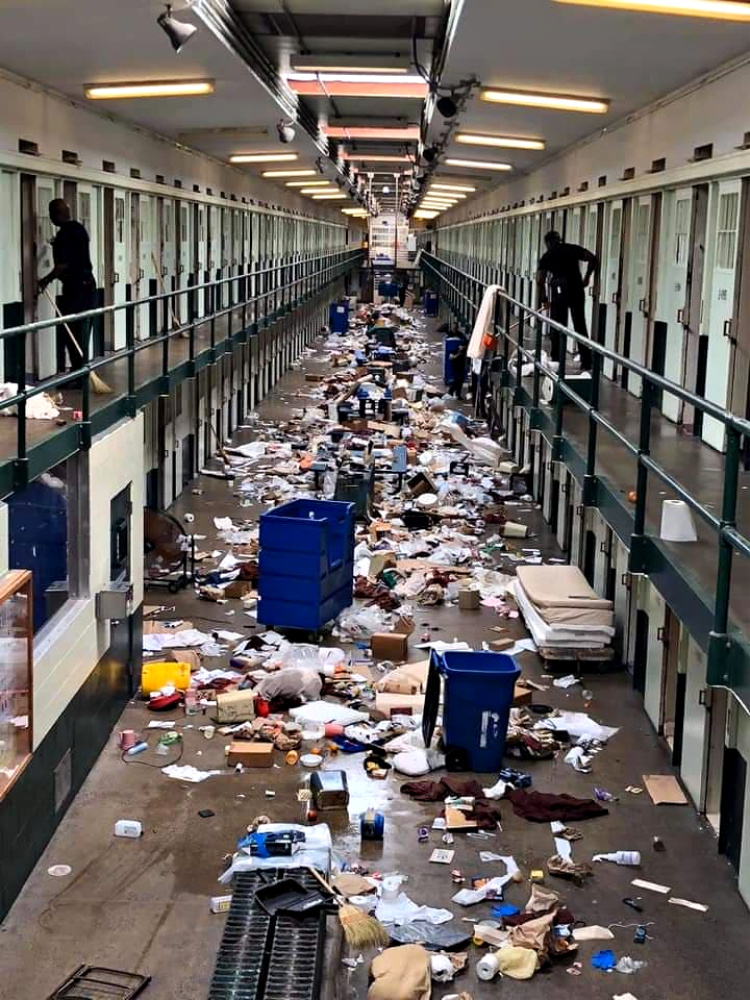 The results of a prison lockdown. Inmates would throw tons of garbage out of their cells.