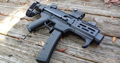 CZ Scorpion micro model with Strike Industries pistol grip, safety, and magazine release.