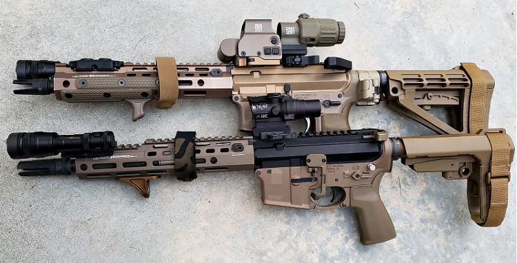 AR Pistols with Cloud Defensive REIN full size and REIN Micro.
