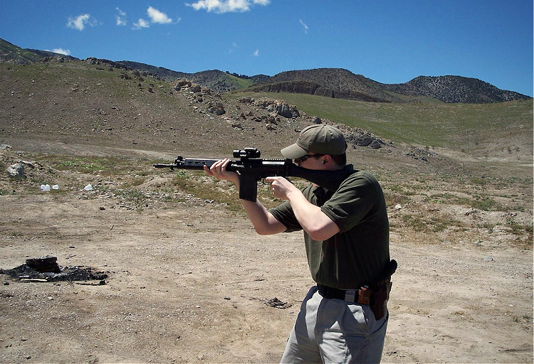 Author with DS Arms FAL carbine, circa 2008.