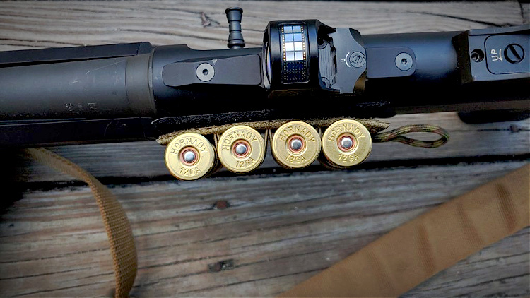 Hornady Black 12-gauge shotshells on shotgun