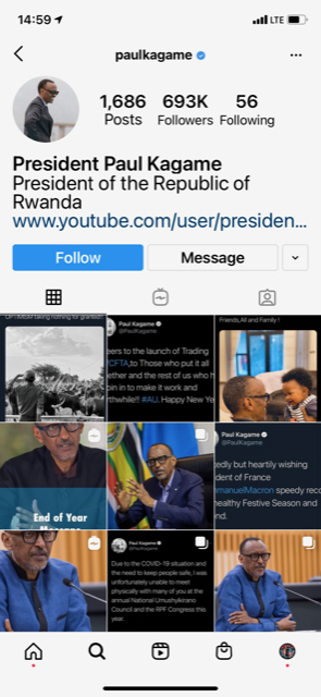 Trump Twitter account comparison: Paul Kagame IG