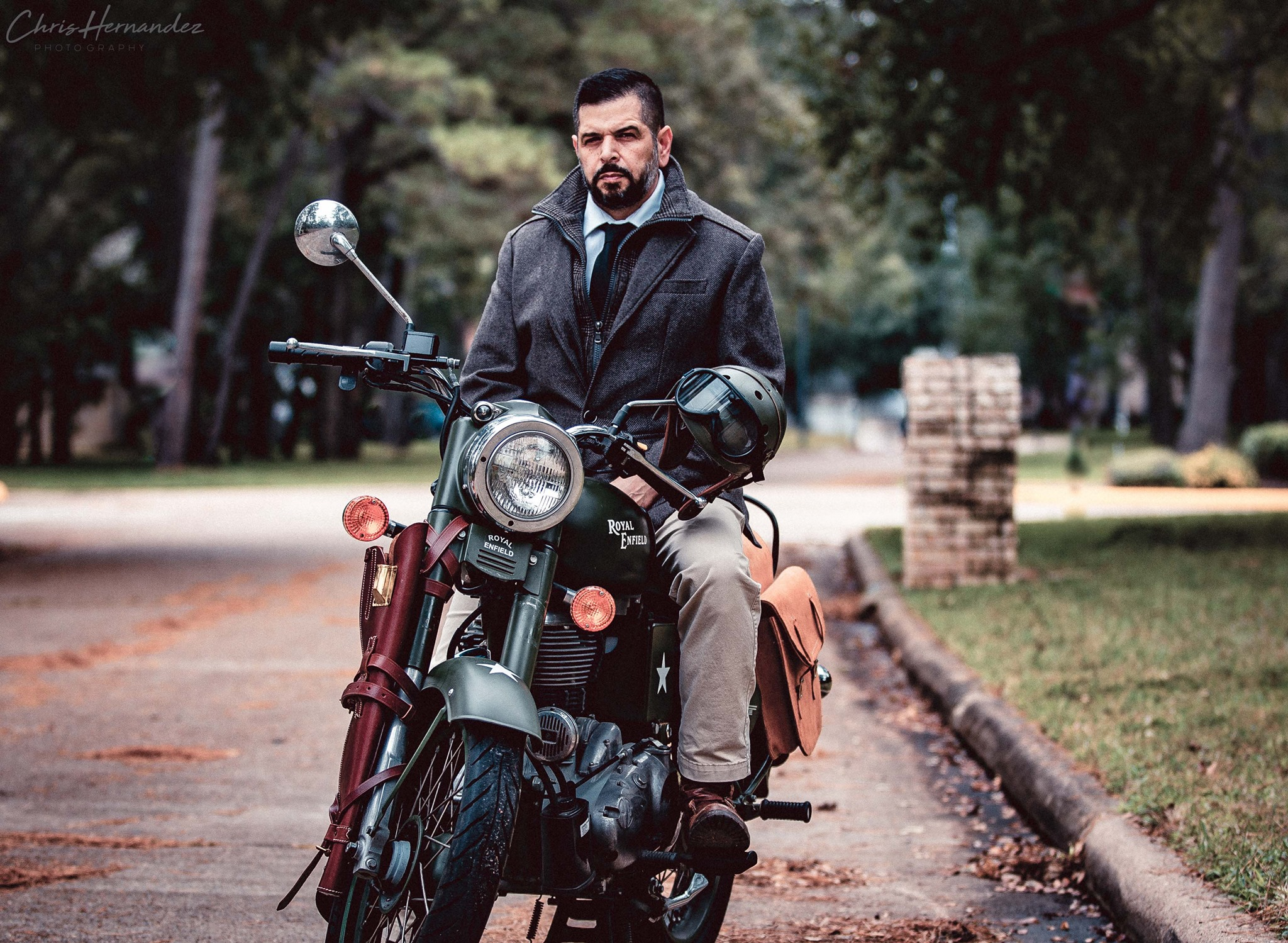 Chris Hernandez on his Royal Enfield motorcycle